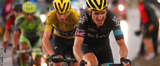 Geraint Thomas rides ahead of Chris Froome on stage 12 of this year's Tour