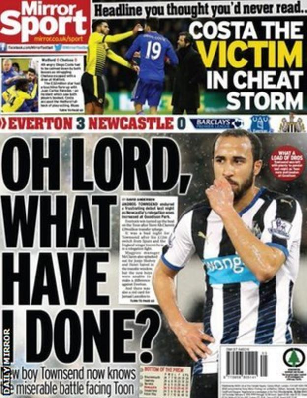 The Daily Mirror back page