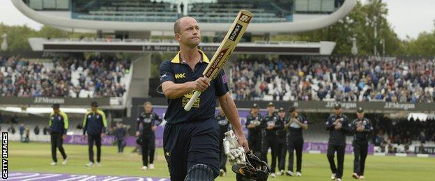 Jonathan Trott walks off after his innings at Lord's in the One-Day Cup final
