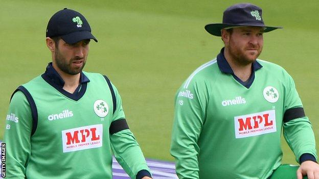 Ireland skipper Andrew Balbirnie and vice-captain Paul Stirling field during the country's shock win over England last August