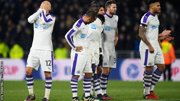 Newcastle United players devastated by penalty shoot out loss