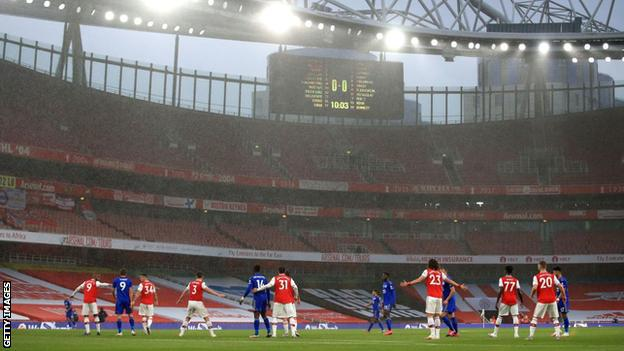 Arsenal play Leicester at an empty Emirates Stadium
