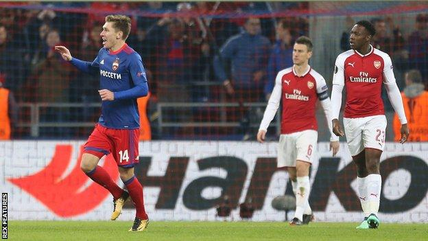Kirill Nababkin celebrates scoring CSKA's second goal after Petr Cech spilled Aleksandr Golovin's strike