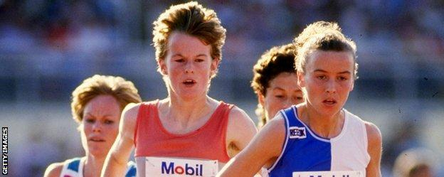 Yvonne Murray and Liz McColgan compete against one another