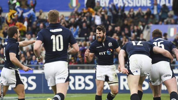 Tommy Seymour (centre) ran in Scotland's third try late in the game