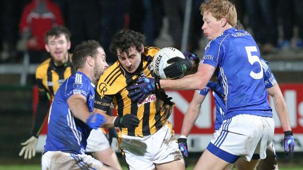 Scotstown pair Mark Duffy and Emmet Caulfield ensure there's no way past for Crossmaglen forward Jamie Clarke