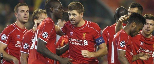 Mario Balotelli, Steven Gerrard of Liverpool