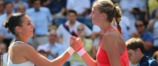 Flavia Pennetta (left) ended Petra Kvitova