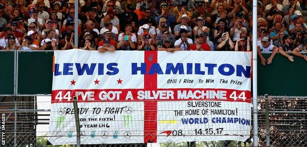 Lewis Hamilton fans in the stands at Silverstone for qualifying