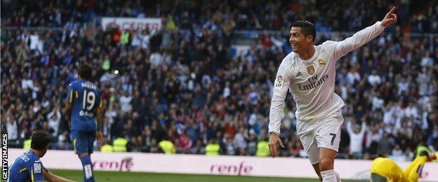 Cristiano Ronaldo celebrates after scoring for Real Madrid against Getafe