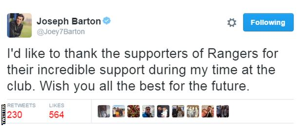 Joey Barton tweet