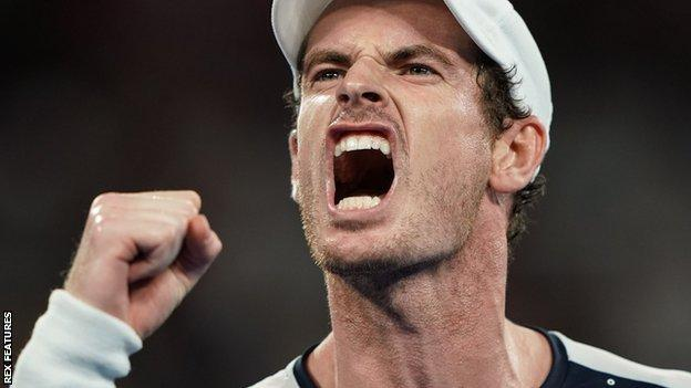 Andy Murray roars in celebration during his Australian Open first-round defeat by Roberto Bautista Agut