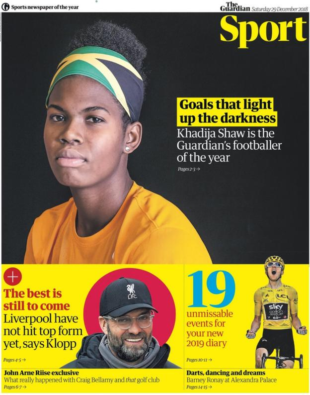 The front page of the Guardian sport supplement