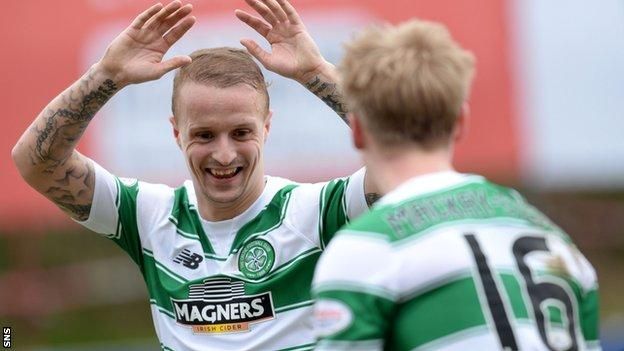 Leigh Griffiths (left) celebrates his opener for Celtic