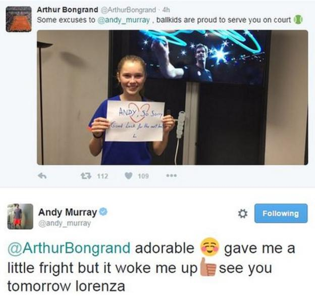 A ball girl apologises for hitting Murray with a ball