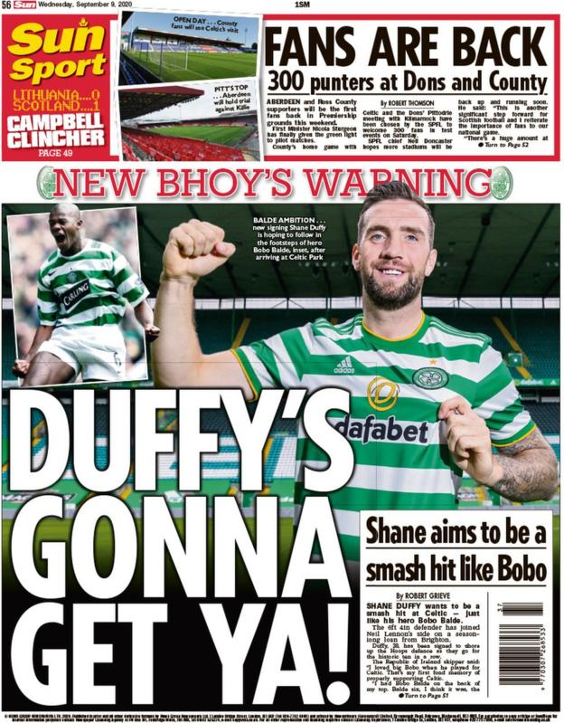 The back page of the Scottish Sun on 090920