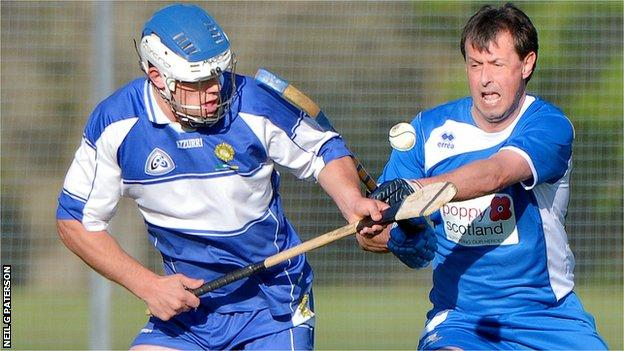 Robert Stoddart playing shinty-hurling for SCOTS Camanachd and Defence Forces Ireland against Ireland