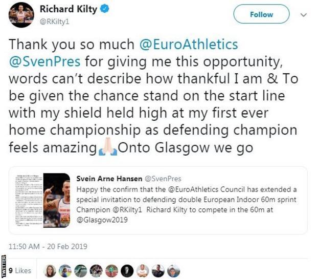 Richard Kilty's reaction on Twitter