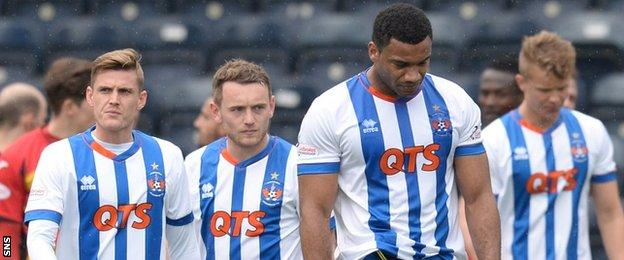 Disappointed Kilmarnock players
