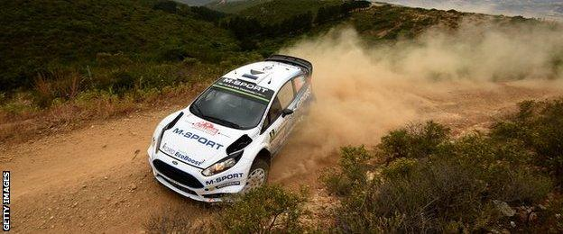 Ott Tanak and co-driver Raigo Molder in their M-Sport WRT Ford Fiesta RS WRC during day one of the WRC Rally Italia Sardegna on June 12, 2015