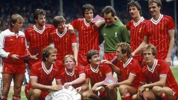 Liverpool in 1982 featuring: (back row L to R) Kenny Dalglish, Mark Lawrenson, Ronnie Whelan, Alan Hansen, Bruce Grobbelaar, Ian Rush and Phil Thompson; Front L to R: Graeme Souness, Sammy Lee, David Hodgson, Alan Kennedy and Phil Neal