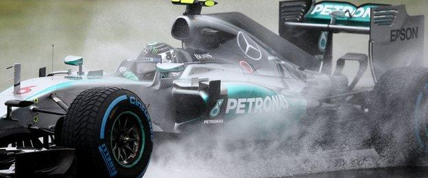 Nico Rosberg driving in the rain