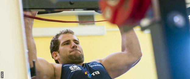Fraser Brown training for Scotland in preparation for the Rugby World Cup