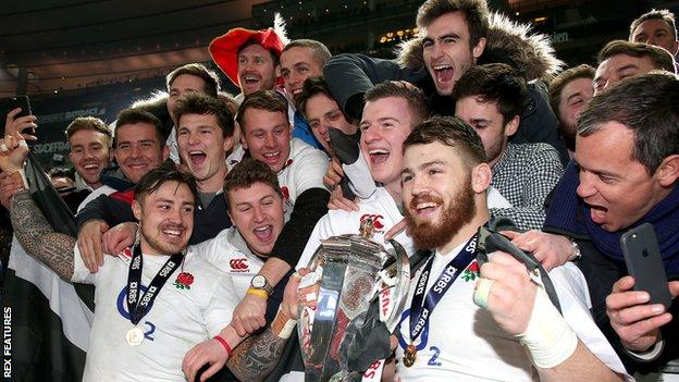 Jack Nowell and Luke Cowan-Dickie celebrate England's Grand Slam with the fans
