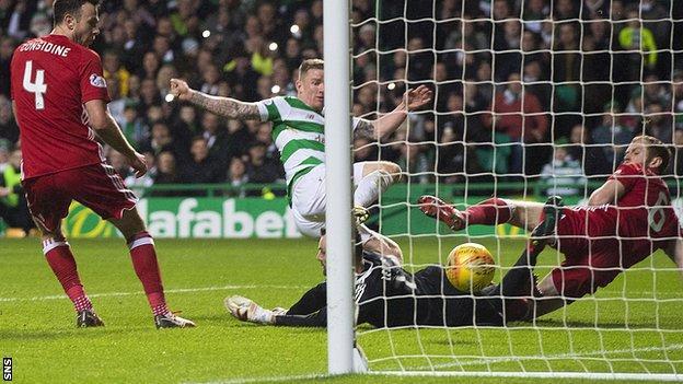 Celtic's Jonny Hayes scores against Aberdeen
