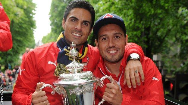 Mikel Arteta and Santi Cazorla