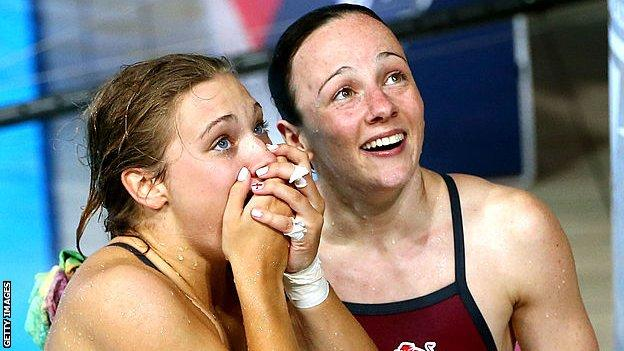 Alicia Blagg and Rebecca Gallantree of England react after winning the gold in the Women's Synchronised 3m Springboard Final