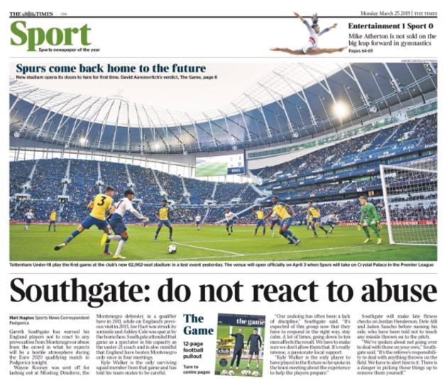 The Times also points to Southgate's request to not react to abuse