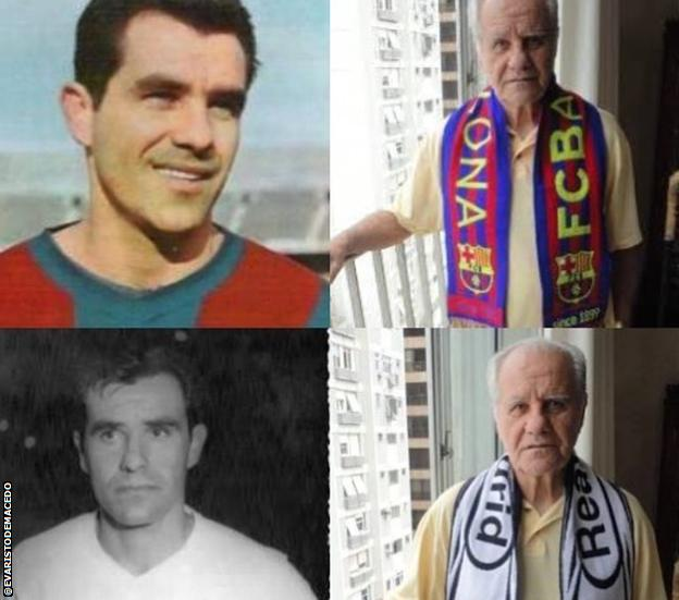Evaristo pictured playing for Barcelona and Real Madrid in a collage photo that also includes two more recent images, pictured at home wearing the scarves of both sides