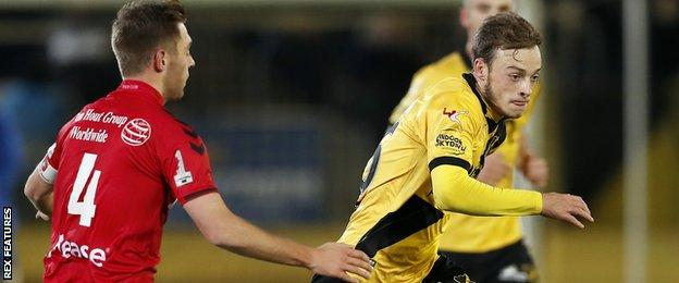 Brandon Barker (right) in action for Breda