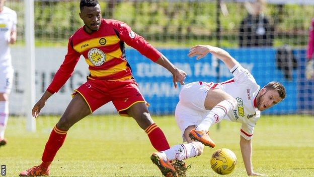 Inverness Caledonian Thistle midfielder Liam Polworth (right) holds off Partick Thistle's David Amoo