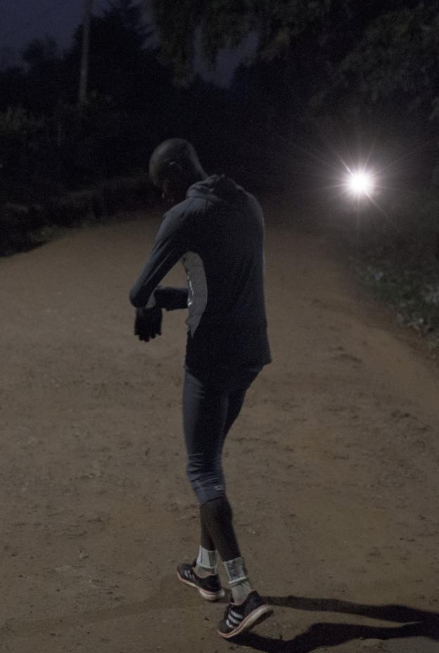 Cornelius Kemboi prepares to go running