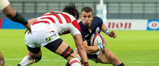 Damien Hoyland playing for Scotland against Japan