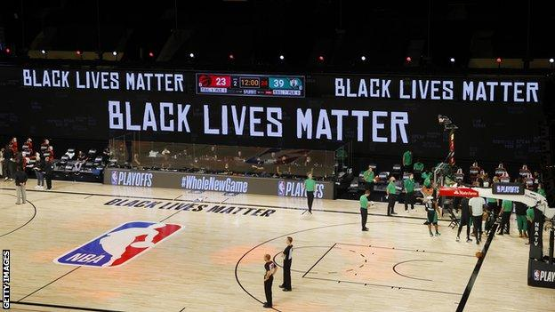 NBA court showing the Black Lives Matter banners