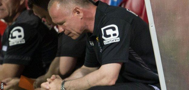 Caley Thistle boss John Hughes hangs his head in the dugout