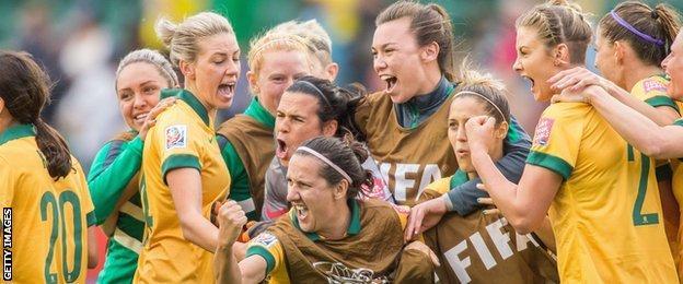 Australia celebrate scoring against Sweden