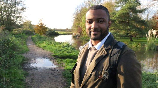 Former JLS member JB Gill walking along the River Stour in Kent