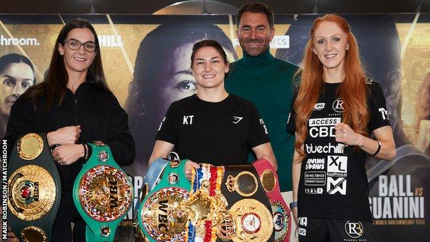 Terri Harper, Katie Taylor and Rachel Ball stand together