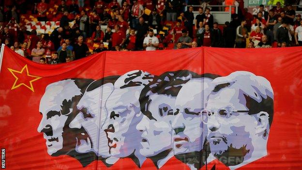 Banner featuring Liverpool's most successful managers