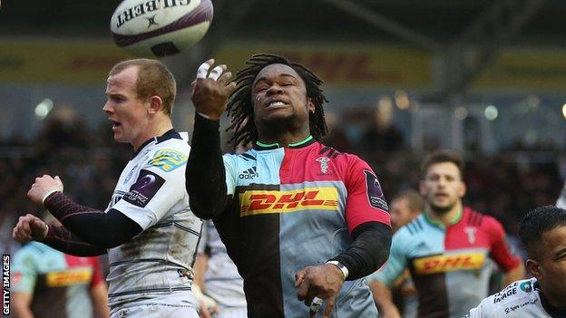 Harlequins winger Marland Yarde scores a first-half try against Cardiff
