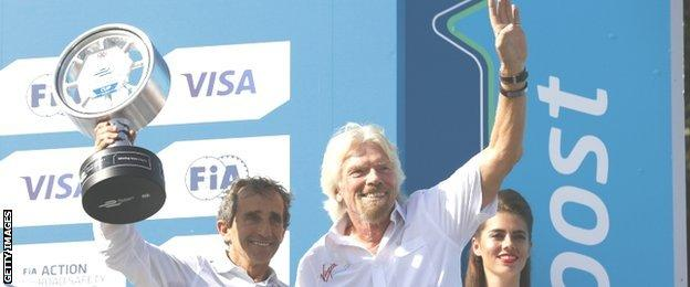 Richard Branson with Alain Prost after Renault's team win