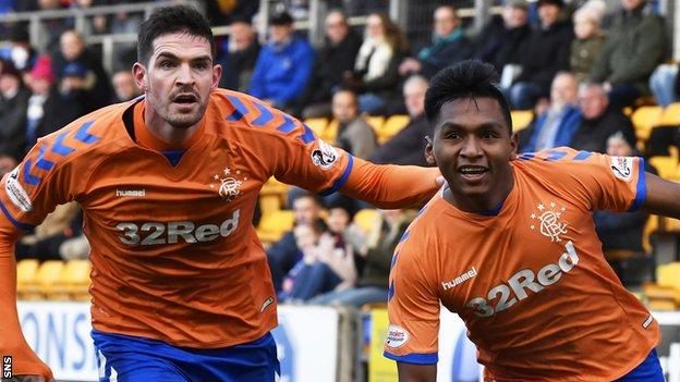 Rangers' Kyle Lafferty and Alfredo Morelos celebrate