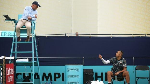 Kyrgios in heated discussion with chair umpire at Queen's