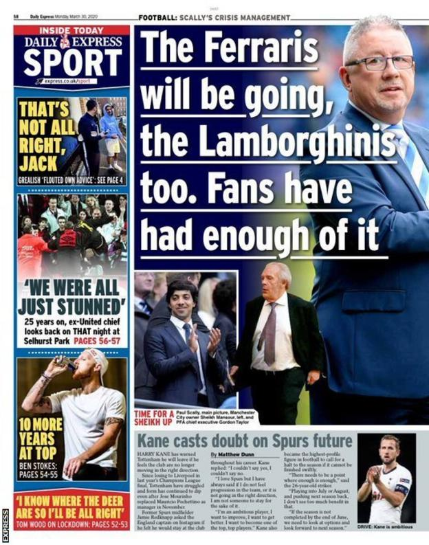 Express back page on Monday, 30 March