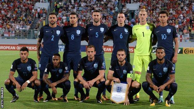 England line up to face Malta