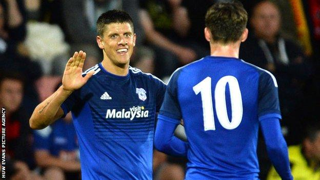 Alex Revell celebrates one of his goals against Bournemouth